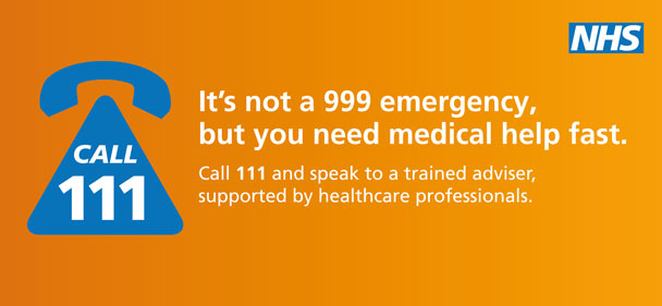Call 111. It's not a 999 emergency, but you need medical help fast.  Call 111 and speak to a trained adviser, supported by healthcare professionals.